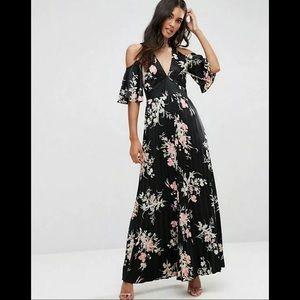 ASOS Cold Shoulder Maxi Dress Satin Floral Print